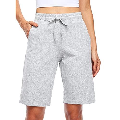 Pantalones Cortos de Color Sólido con Bolsillos para Mujer Pantalón Deportivos Casual con Cordón Pantalon Cortos de Deporte Transpirable Shorts Deportes Suelto y Cómodo Mujeres Pantalones Corta