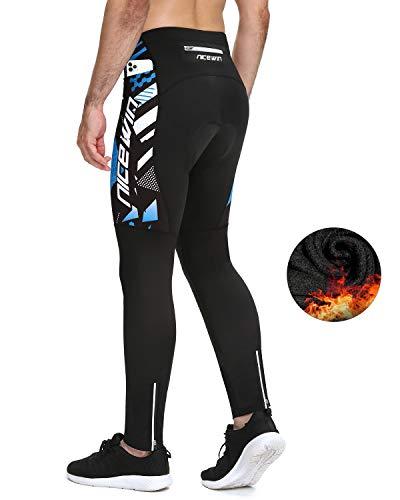 NICEWIN Pantaloni da Ciclismo Invernali Uomo Lunghi con 4D Gel Imbottito Pantaloni Bici MTB Traspirante Compression Mountain Bike Termici Pantaloni Sportivi