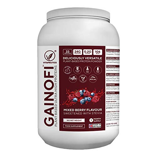 Gainofi - Plant Based Ultra High Proteins (Mixed Berry Flavour) - Vegan-Friendly, GMO-Free & Halal - for Men & Women - Vitapeutics Brand - Made in The UK by Dr. Khubybe's Ltd.