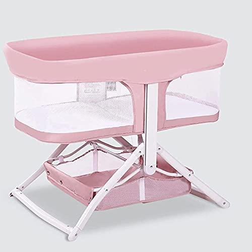 JIAX Cuna de viaje plegable 2 en 1 para bebé, cuna de viaje, portátil, mecedora de almacenamiento, cuna para recién nacido, malla transpirable, cuna de bebé con mosquitero, color rosa