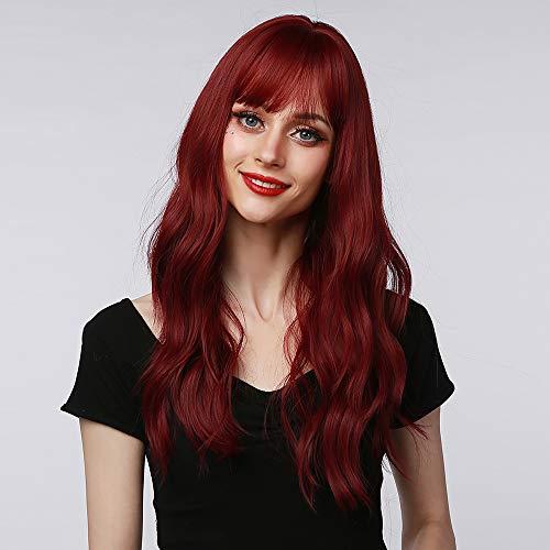 TopWigy 22 Zoll Perücke Damen Rot Lang Locken, Gewellte Synthetische Haar Perücken mit Pony für Frauen Mädchen Mittelteil Cosplay Halloween Kostüm Party