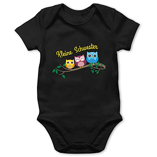 Geschwisterliebe Baby - kleine Schwester Eulen - 18/24 Monate - Schwarz - eulen Shirt - BZ10 - Baby Body Kurzarm für Jungen und Mädchen