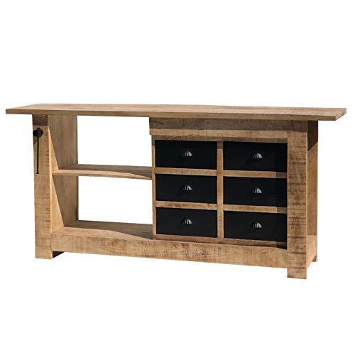 Chemin_de_camp Bahut aanrecht werkbank Metier industrieel hout ijzer 192 cm x 89 cm