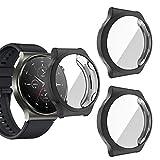 sciuU Hülle Kompatibel mit Huawei Watch GT 2 Pro Smartwatch, [3 Stück] R&um Schutzhülle mit Bildschirmschutzfolie, Flexible TPU-Gehäuse Hülle Schale Kompletter Schutz Cover für Huawei GT2 Pro, Schwarz
