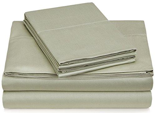Pinzon 400 Thread Count Egyptian Cotton Sateen Hemstitch Sheet Set - California King, Sage
