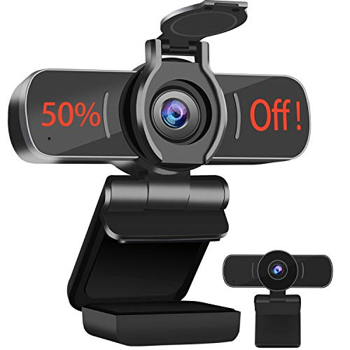 Dericam 1080P HD Webcam with Microphone, USB Webcam, Play and Plug Computer Camera For Skype, FaceTime, PC/Mac/Laptop with Privacy Cover for Video Calling Streaming, Conference, Gaming, Online Classes