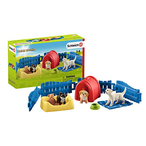 Schleich 42480 Farm World Spielset - Welpenstube, Spielzeug ab 3 Jahren