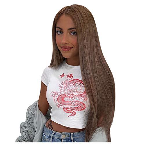 Weißes Drache Druck T-Shirt des chinesischen Schriftzeichens Frauen zufälliges Behälter T-Stück Streetwear (Weiß, S)