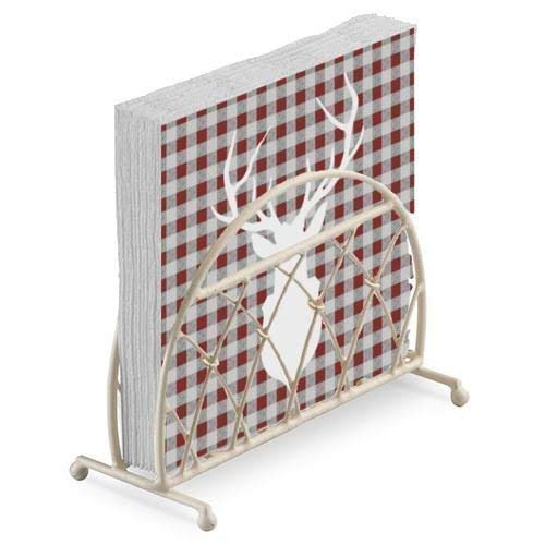 Cerf Silhouette Rouge Gris Vichy Noël en Relief 20 X 3 Plis Serviettes en Papier & Treillis Porte Serviette Set