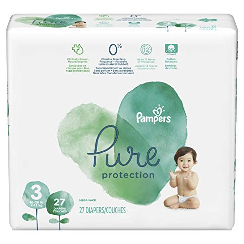 Price comparison product image Diapers Size 3,  27 Count - Pampers Pure Protection Disposable Baby Diapers,  Hypoallergenic and Unscented Protection,  Mega Pack (Old Version)