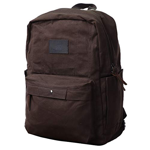 Waterproof Waxed Canvas Backpack for Men Travel Rucksack Leather Trimming (Brown)