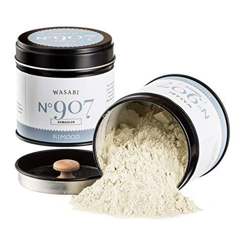 Wasabi N°907 - echte Wasabiwurzel gemahlen, ideal für Wasabipasten Herstellung, in eleganter Gewürzdose mit doppeltem Aromadeckel, Inhalt: 40g
