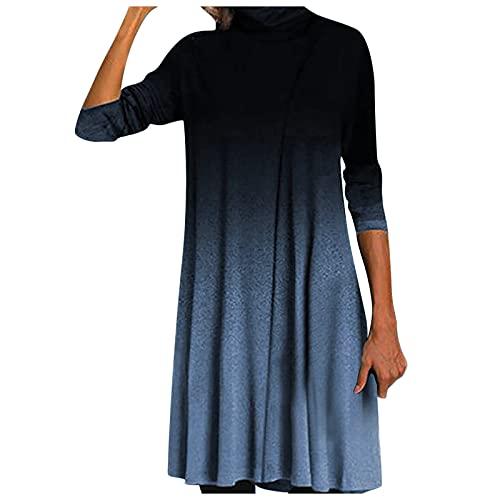 Vestido de Mujer Largo Casual Vestidos Suelto Floral Otoño/Invierno Manga Larga Elegante con Cuello Medio Alto Vestido Maxi Dress (Azul, M)