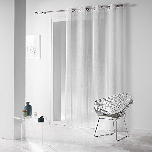 Doucer D'interierur - Tenda da 140 x 260 cm, in voile con fili di ciniglia, Louane, con occhielli, colore: bianco