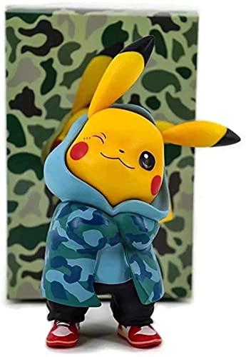 Adornos Decorativos Pokemon Camuflaje Ropa Pickup Tres Colores Tienda de la Marea Pikachu Q Versión Muñeca en Caja Modelo Mano Decoración (Color: Rosa)-Azul