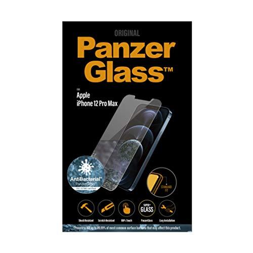 PanzerGlass antibakterielles Schutzglas passend für Apple iPhone 12 Pro Max, Standard Fit