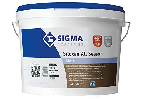 Sigma Siloxan All Season Weiß 12,5 l - Silikonharz-Fassadenfarbe - frühregenfest nach schon 20 Min - 30% leichter - Filmschutz gegen Algen- und Pilzbefall