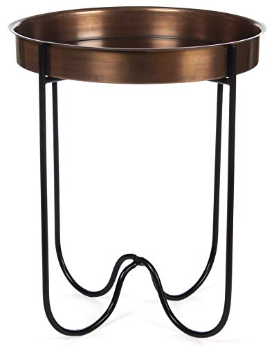 H Potter Outdoor Patio Side Table Antique Copper for Porch Deck Balcony Terrace Indoor Living Room Kitchen Small Spaces Quick Folding Stand Removable Round Metal Tray for Coffee Drinks or Appetizers