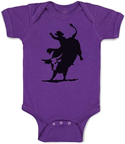 Custom Baby Bodysuit Rodeo Cowboy Bull Riding Funny Cotton Boy Girl Baby Clothes Purple Design product image