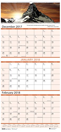 House of Doolittle 2018 Wall Calendar, Three-Month View, Earthscapes Scenic, 8 x 17 Inches, December - January (HOD3636-18)