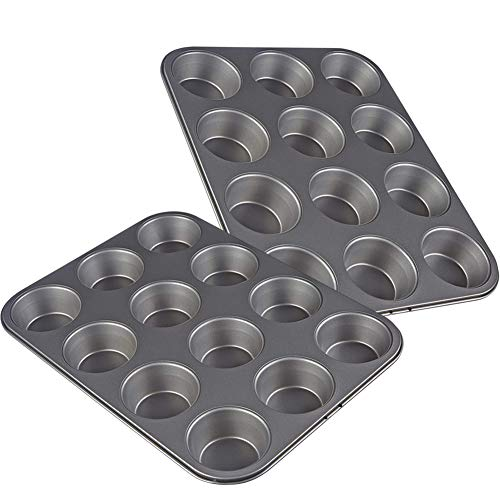 Muffin Pan, Nonstick Carbon Steel Muffin and Cupcake Baking Pan, Set of 2, 12 Cups Each
