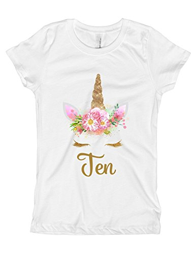 Girls Pink and Gold Unicorn Birthday Shirt Any Age OR Name 7