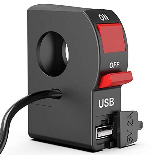 WANGXINQUAN 22mm 7/8' Interruptor Universal Manillar de la Motocicleta de Inicio Flameout ON Off Botón con Cargador USB 4 Conectores de Cable