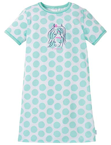Schiesser Schiesser Mädchen Ponyhof Nachhemd 1/2 Nachthemd, Grün (Mint 708), 92 (Herstellergröße: 092)