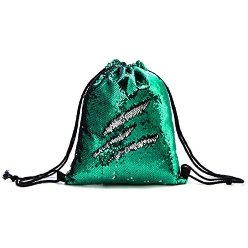 CQMYG Bolso con cordón de lentejuelas Bolso de mochila con cordón de estudiante al aire libre Bolso de hombros de mujer-verde