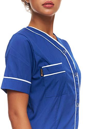 Mazalat Kasack - Chaqueta sanitaria de manga corta para mujer, fabricada en la UE, ropa de trabajo médico, ropa de cuidado de personas mayores, uniforme médico azul XXXL
