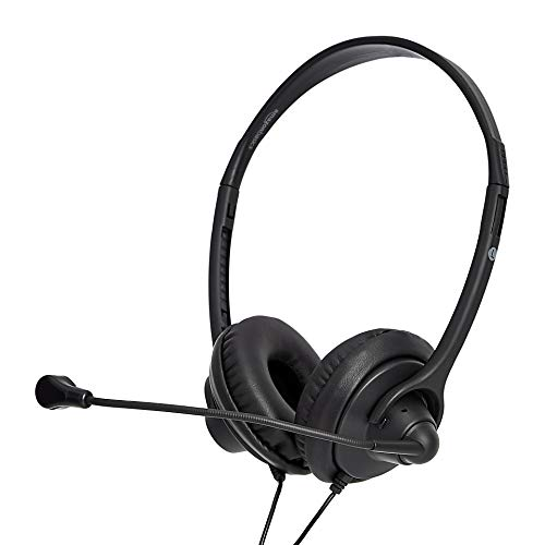 AmazonBasics Leather Cover USB Headset with Mic and Mute Option
