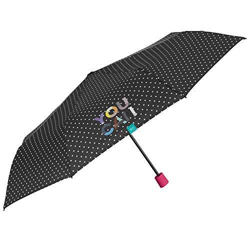 PERLETTI Paraguas Mujer'You Can' Plegable Manual - Sombrilla Negra con Detalles Fucsia Chica - Paraguas de Viaje Compacto Antiviento - PFC Free - Diámetro 97 cm (Negro Lunares)