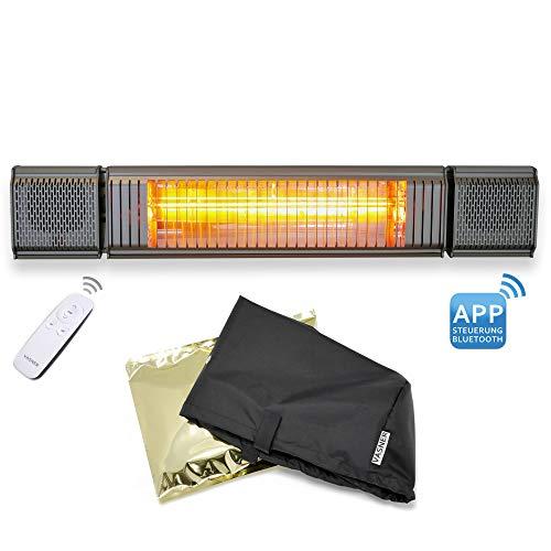 VASNER Appino BEATZZ Grau Infrarotstrahler Terrassenstrahler dimmbar 2000 Watt mit Bluetooth LED Backlight Licht Musik-Lautsprecher Außenbereich mit Abdeckhaube AirCape M