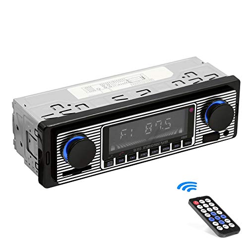 Classic Car Stereo Bluetooth Car Radio 2 Knob Single Din 60WX4 FM Freisprecheinrichtung Autoradio Oldtimer MP3 AUX USB U-Disk Audio mit Fernbedienung
