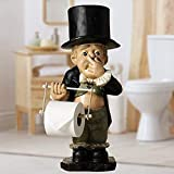 Toilet Butler Ornaments with Roll Paper Holder Stand, Pinching Nose Funny Gentleman Resin Statue Super Cute Spoof Toilet Paper Resin Decorations for Bathroom (A Gentleman Holder)