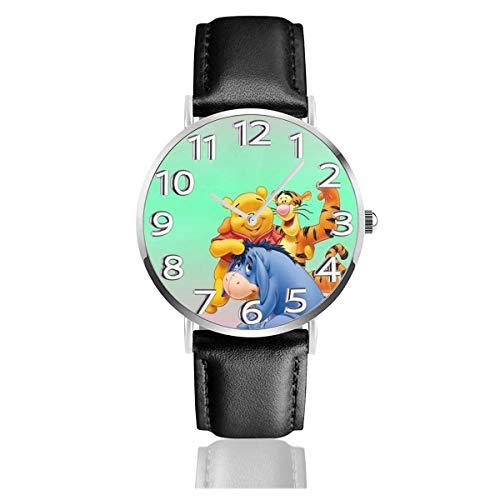 Winnie and His Reloj Unisex de Cuarzo analógico Easy Reader de 38 mm con Correa de Cuero