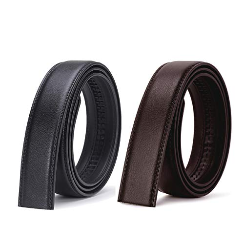 Baitaihem Men's Leather Belt Only , 2 Pack Replacement Leather without Buckle(Black & Brown)