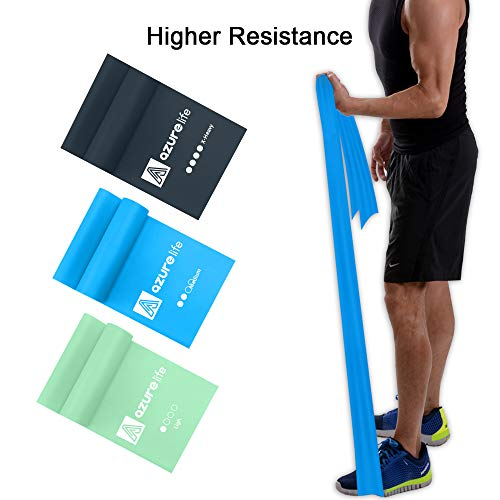 A AZURELIFE Professional Resistance Bands Set, Different Resistance Levels of Exercise Bands, 5 ft. Long Latex Free Elastic Stretch Bands for Physical Therapy, Yoga, Pilates, Rehab, Home Workout