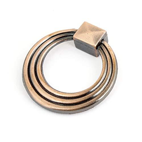 X-DREE Retro Style Copper Tone Metal Ring Rectangle Shape accen_t Door Handle(Estilo retro Tono de cobre Anillo de metal Rectángulo Forma Acento Puerta Manija