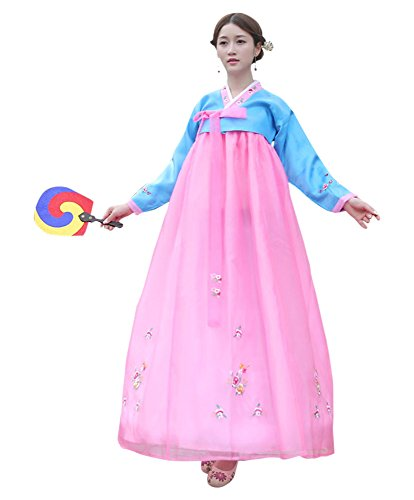 CRB Fashion Womens Ladies Korean Traditional Hanbok Dress Outfit Costume with Embroidery Flower Details (Large, Blue)