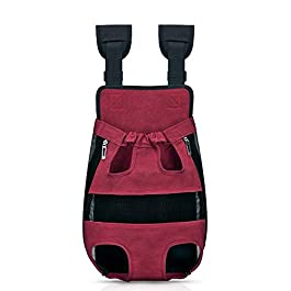 Bwiv Dog Carrier Canvas Backpack Adjustable Padded Shoulder Straps Puppy Summer Breathable