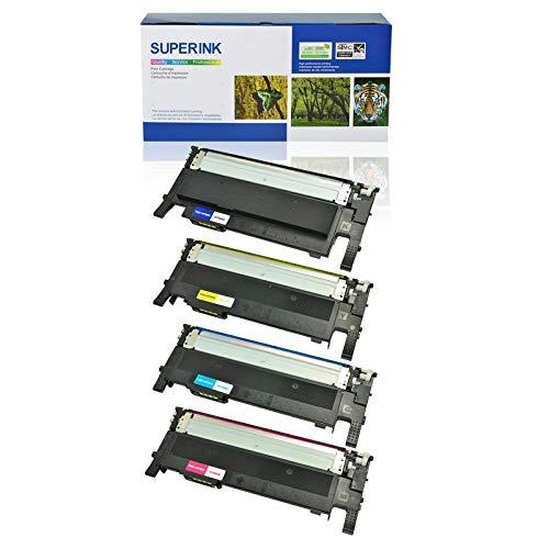 SuperInk 4 Pack Compatible Toner Cartridge Set for Samsung CLT-K406S CLT-C406S CLT-Y406S CLT-M406S CLT-406S use in CLP-360 CLP-365 CLX-3300 SL-C410W Xpress C460W (1 Black,1 Cyan,1 Yellow,1 Magenta)