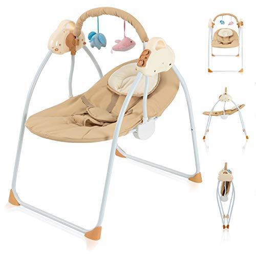 Babywippe Elektrisch Schaukelfunktion Zusammenklappbare und Tragbare Babyschaukel mit 3 Schaukelgeschwindigkeiten Wippe Baby Lautstärkeregulierung und Abnehmbarem Spielzeugbügel Schaukelwippe (Khaki)