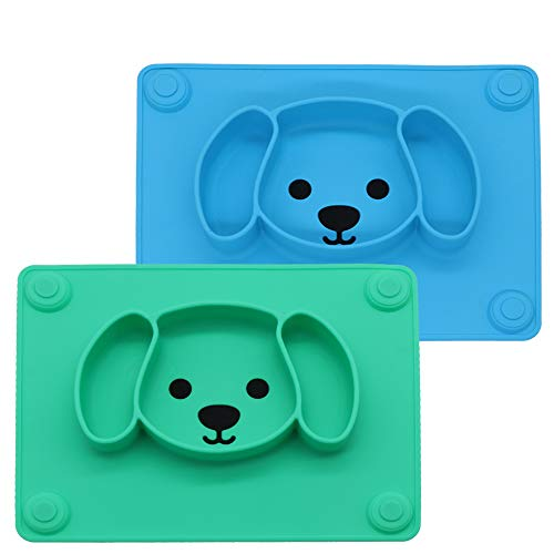 LongDear Baby Silicone Suction Placemat + Plates - Food Feeding Divided Mat for Kids and Toddlers Fits Most Highchair Trays - Easily Wipe Clean - Dishwasher and Microwave Safe (Blue & Green)