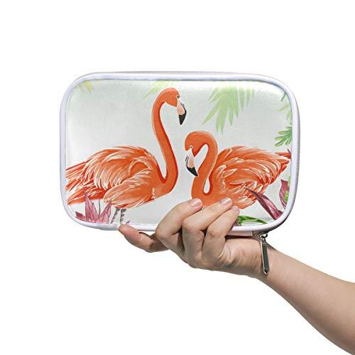 Mr.XZY Estuche para lápices de flamenco, para niño y niña, diseño de hojas de palmera, bonito animal multifunción, bolsa de cosméticos portátil con cremallera para estudiante 2010005
