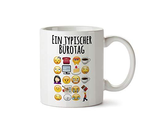 True Statements Tasse EIN typischer Büroalltag - lustige Emoticon Kaffeetasse, Kaffeebecher, Mitarbeiter, fürs Büro, Arbeit und Co.