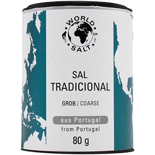 Pepperworld Sal Tradicional, grobes Meer-Salz aus Portugal, mildes Universal-Salz in grober Körnung, reich an Mineralien, 80 g