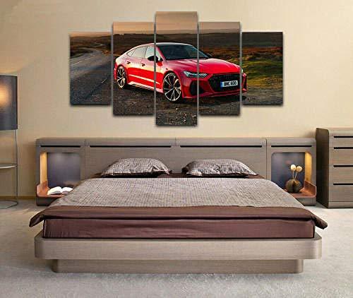 5 Piezas Material Tejido No Tejido Impresión Artística Imagen Coche Deportivo Audi RS 7 Sportback Dormitorios Decoración para El Hogar -No Tejido Lienzo Impresión- Modular Poster Mural