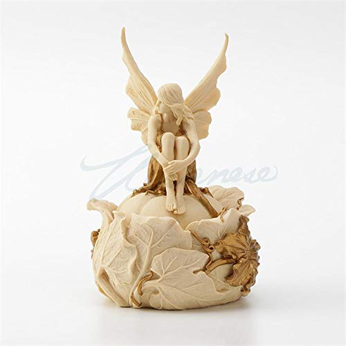 DIAOSUJIA Escultura,Cofre De Hadas Flor Creativo Arte Escultura Angel Figura Estatua Resina Joyero Artesanal Regalo De Cumpleaños para La Decoración del Hogar