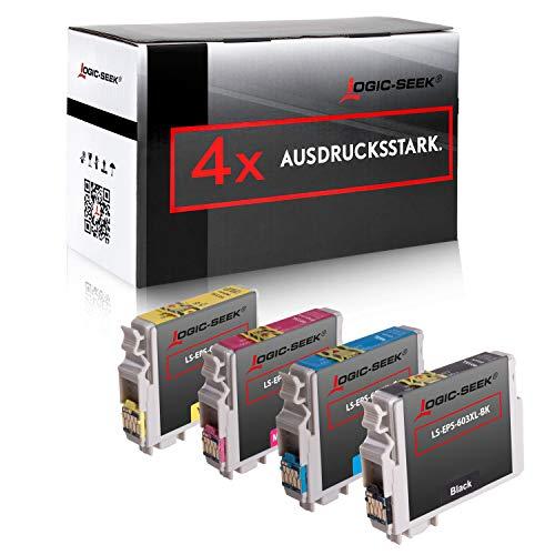 4 Logic-Seek Tintenpatronen kompatibel für Epson 603XL passend für Epson Workforce WF-2850DWF WF-2835DWF WF-2830DWF Expression Home XP-4105 XP-4100 XP-3105 XP-3100 XP-2105 XP-21001